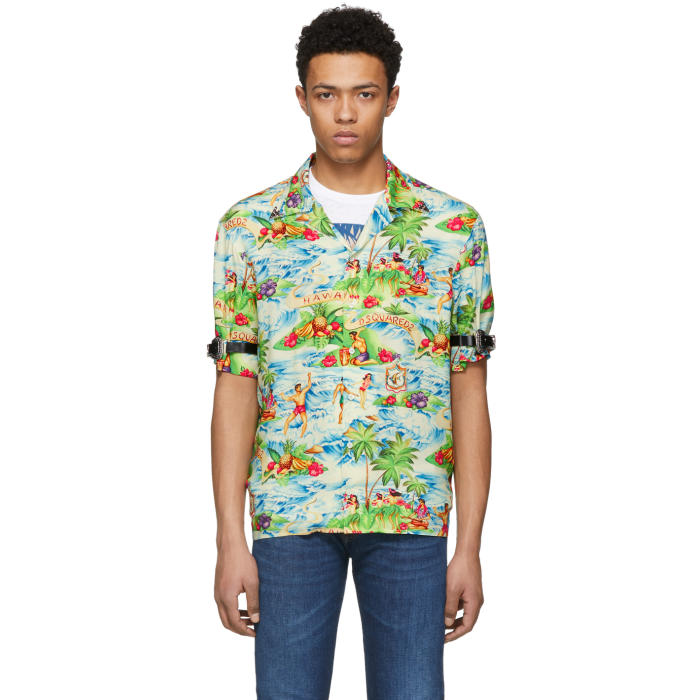 bc8b58e0 Dsquared2 Multicolor Printed Hawaiian Shirt Dsquared2