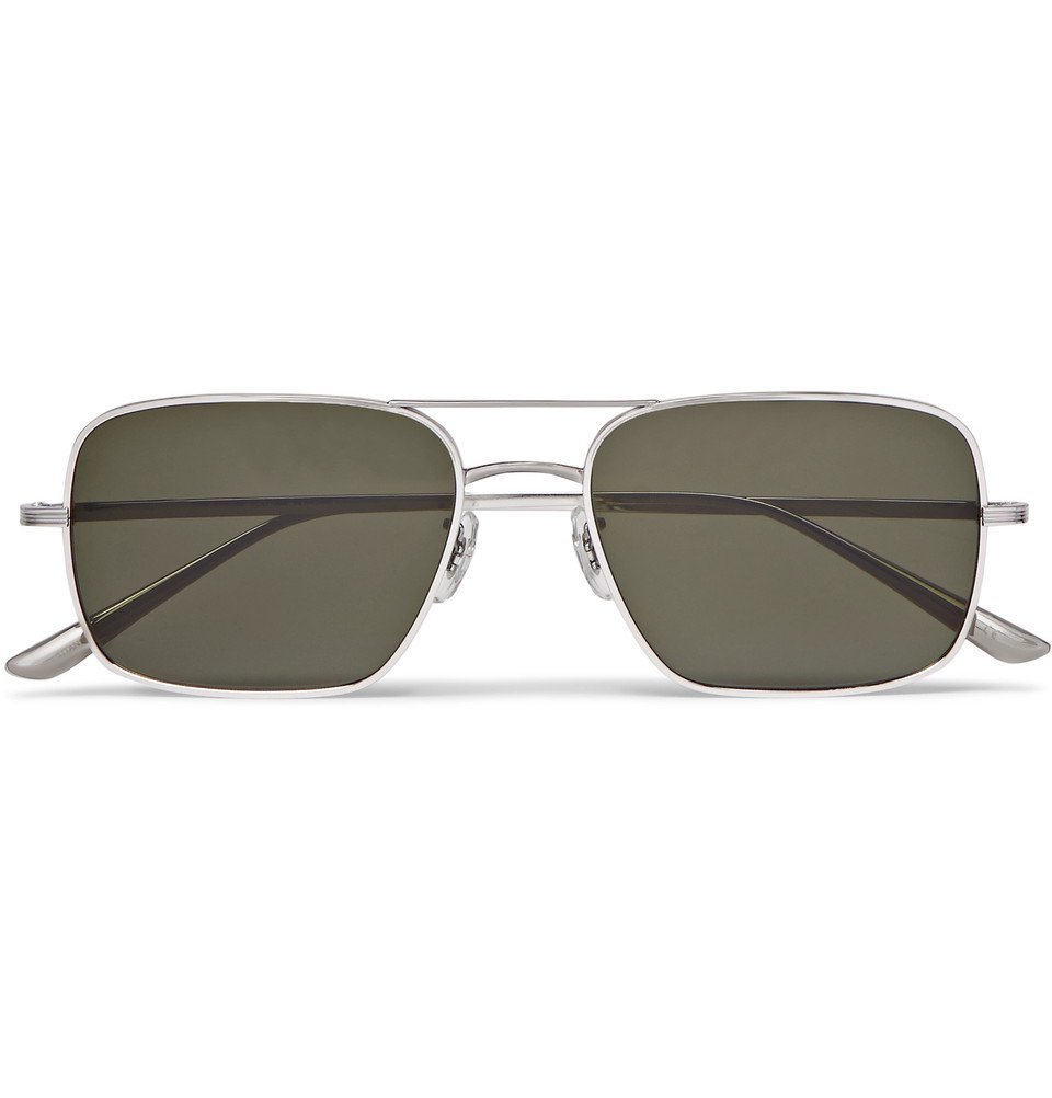 Photo: The Row - Oliver Peoples Victory LA Aviator-Style Silver-Tone Titanium Polarised Sunglasses - Silver