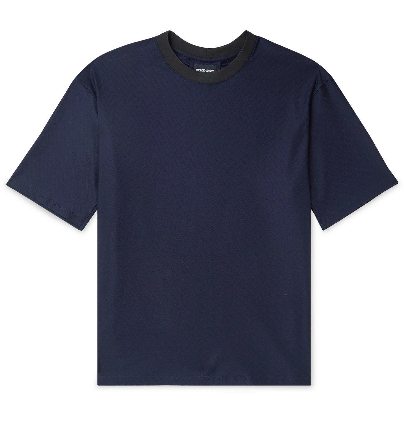 Giorgio Armani - Herringbone Cotton-Jacquard T-Shirt - Blue