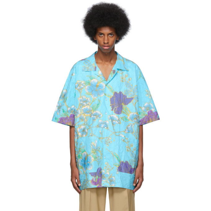 Photo: Gucci Blue Paper Effect Paradise Lost Bowling Shirt