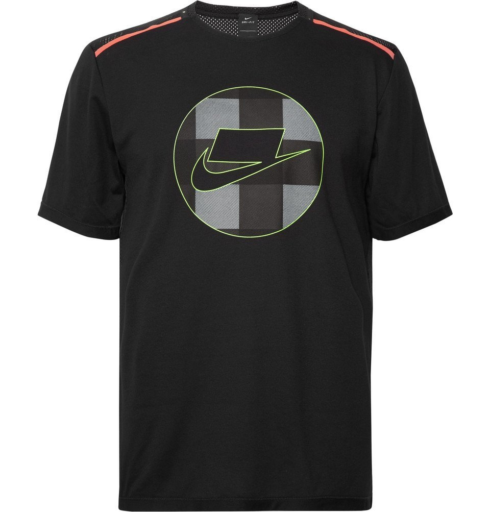 Nike Running - Wild Run Logo-Print Dri-FIT and Mesh T-Shirt - Black