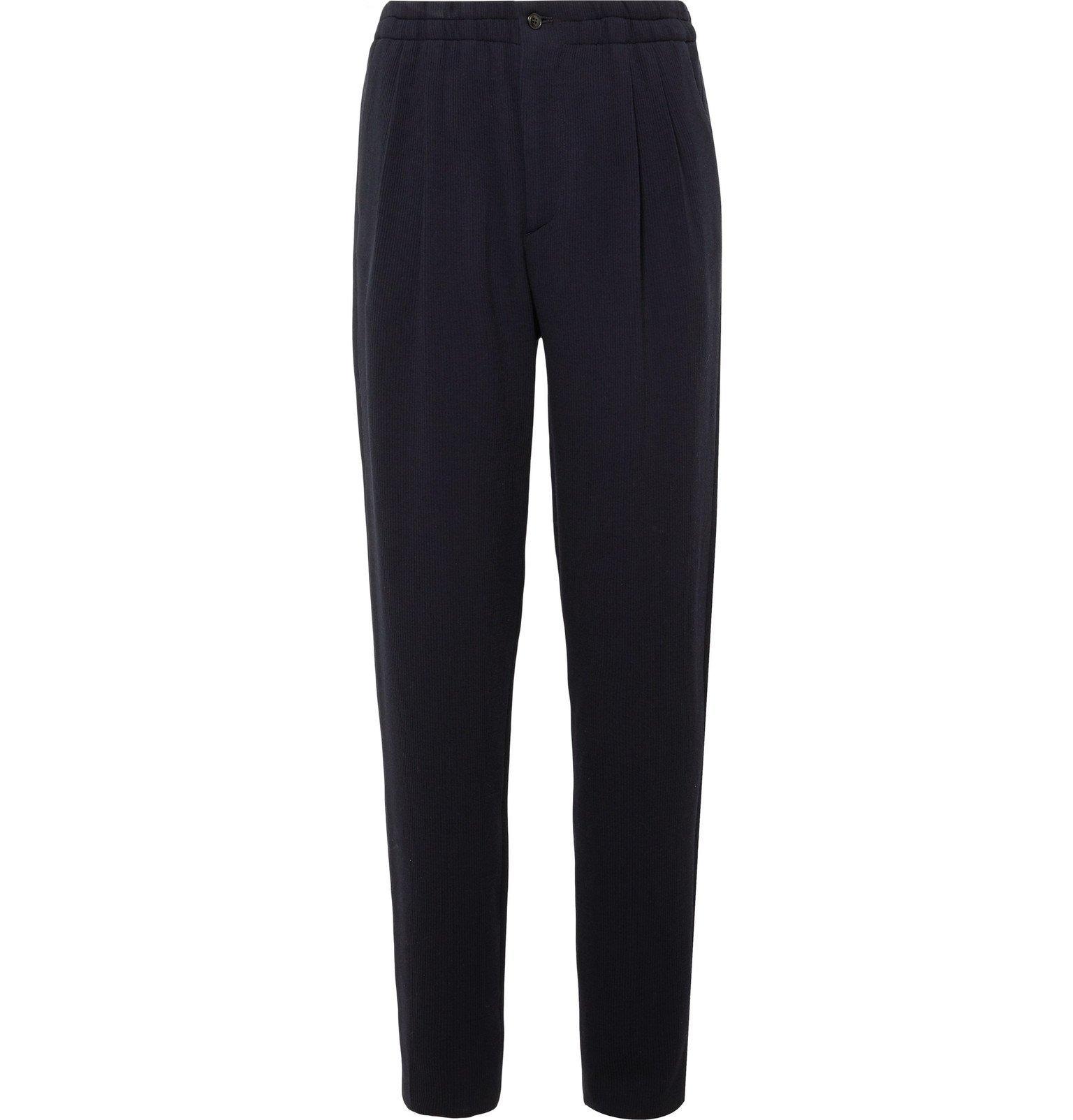 Giorgio Armani - Navy Pleated Virgin Wool-Blend Seersucker Suit Trousers - Blue