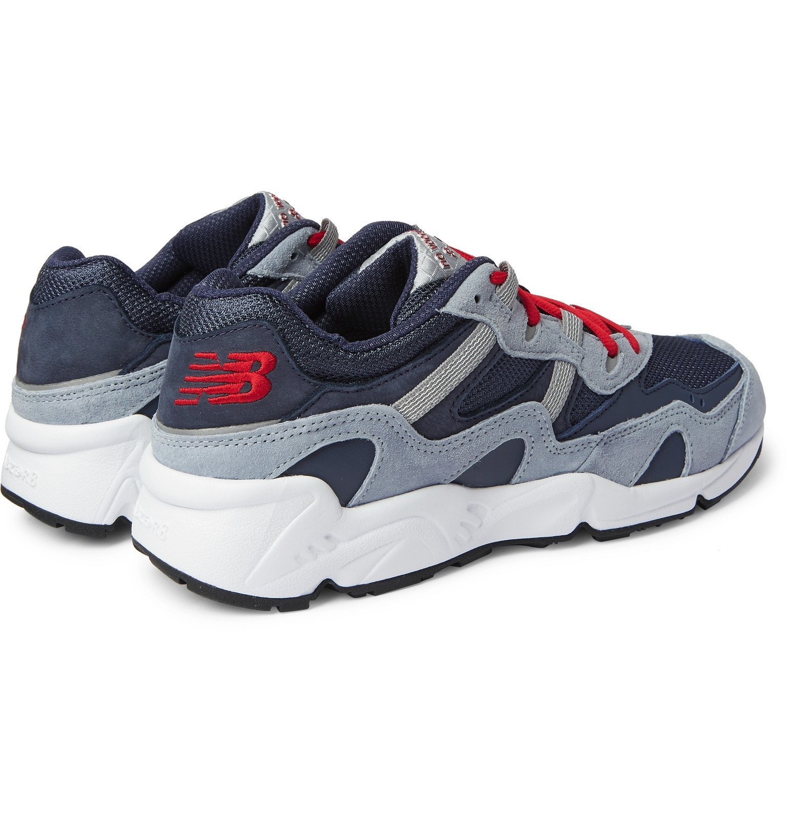 New Balance - No Vacancy Inn ML850 Suede and Leather-Trimmed Mesh Sneakers - Blue