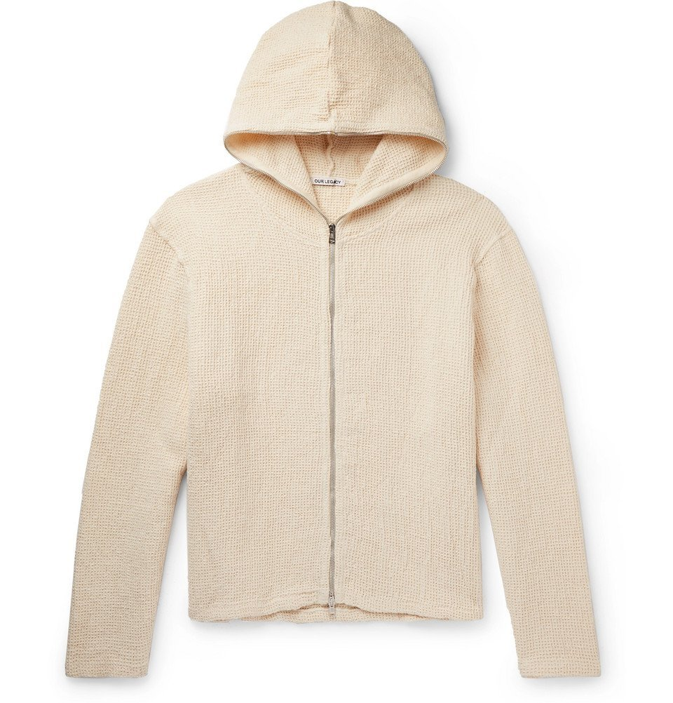 Photo: Our Legacy - Waffle-Knit Linen and Cotton-Blend Hoodie - Off-white