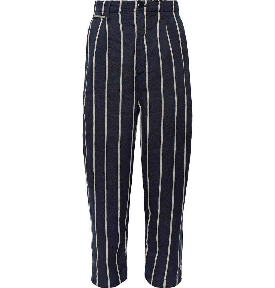 Photo: KAPITAL - Striped Linen and Cotton-Blend Trousers - Navy
