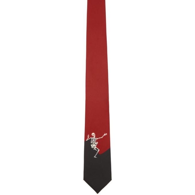 Photo: Alexander McQueen Black and Red Dancing Skeleton Tie