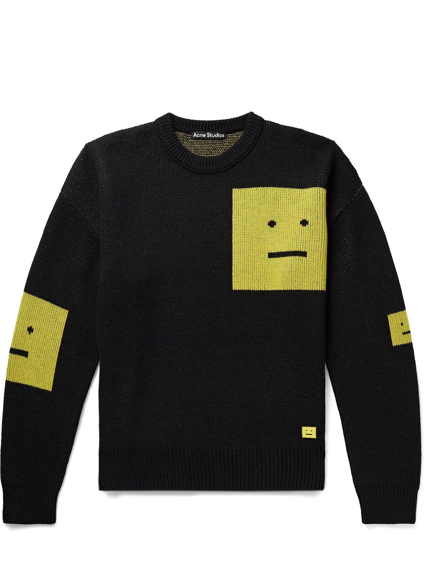 Photo: Acne Studios - Logo-Appliquéd Wool-Jacquard Sweater - Black