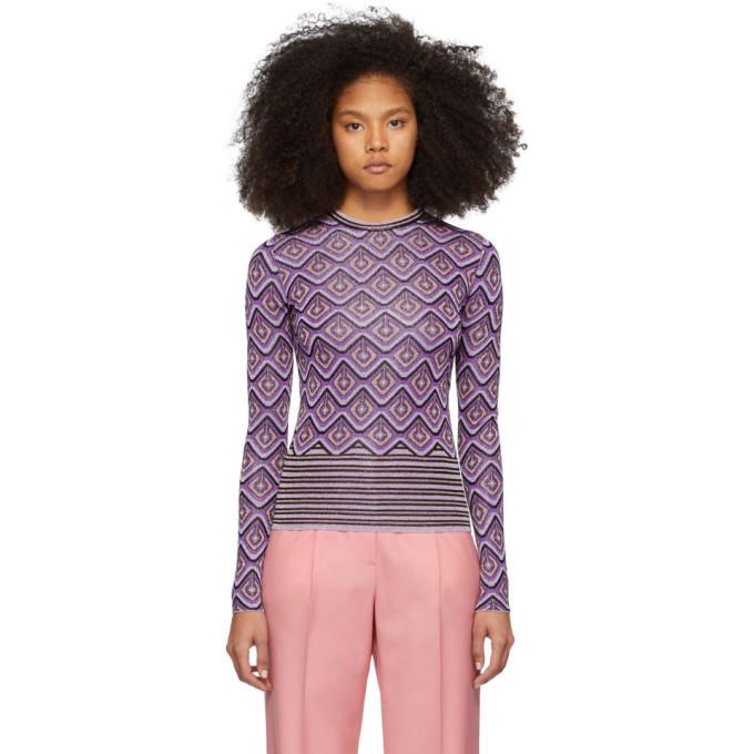 Photo: Paco Rabanne Purple Jacquard Stripes Top