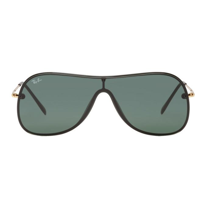 Photo: Ray-Ban Black and Gold Pilot Shield Sunglasses