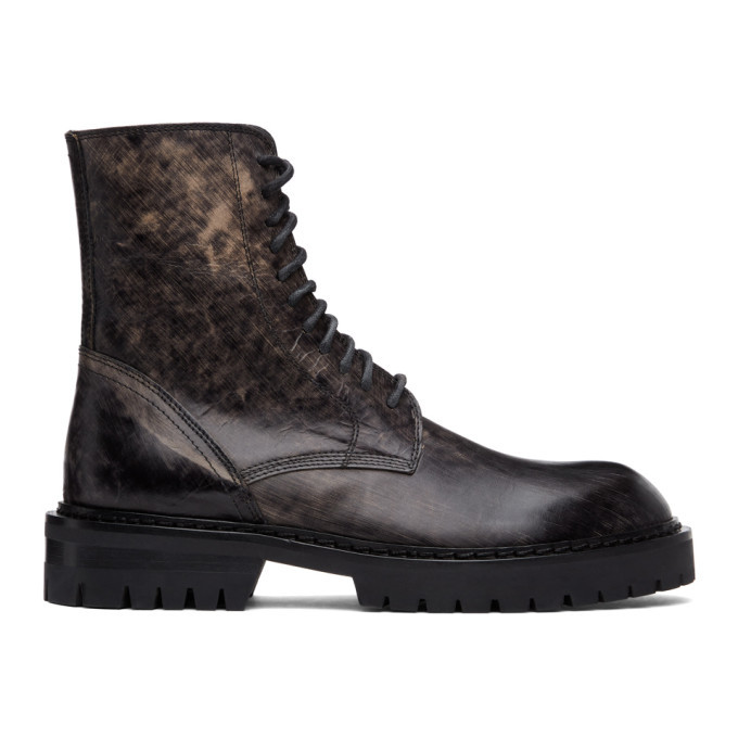 Photo: Ann Demeulemeester SSENSE Exclusive Black Distressed Tucson Lace-Up Boots