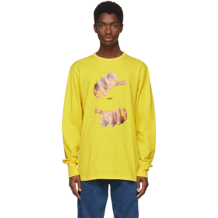 Yellow Long Sleeve Hands T-Shirt Off-white Free Shipping Great Deals Buy Cheap Best Sale Discount Looking For Clearance Good Selling Clearance Free Shipping kJtcnQnc1T