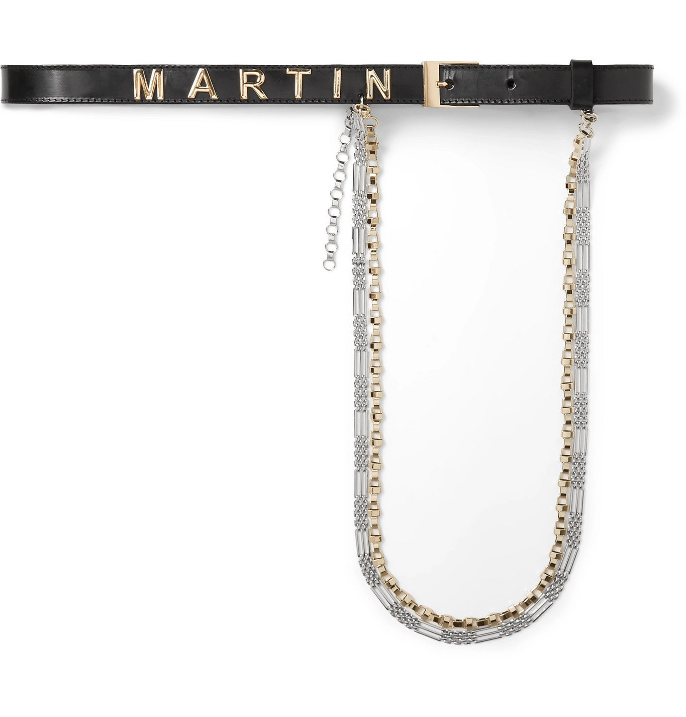 Photo: Martine Rose - Logo-Embellished Leather and Silver-Tone Belt - Black