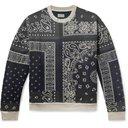 KAPITAL - Bandana-Print Fleece-Back Cotton-Jersey and Quilted Shell Sweatshirt - Gray