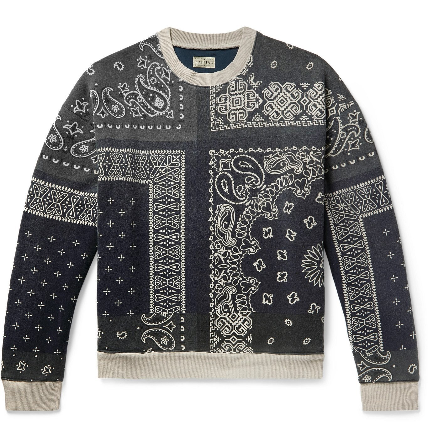 Photo: KAPITAL - Bandana-Print Fleece-Back Cotton-Jersey and Quilted Shell Sweatshirt - Gray
