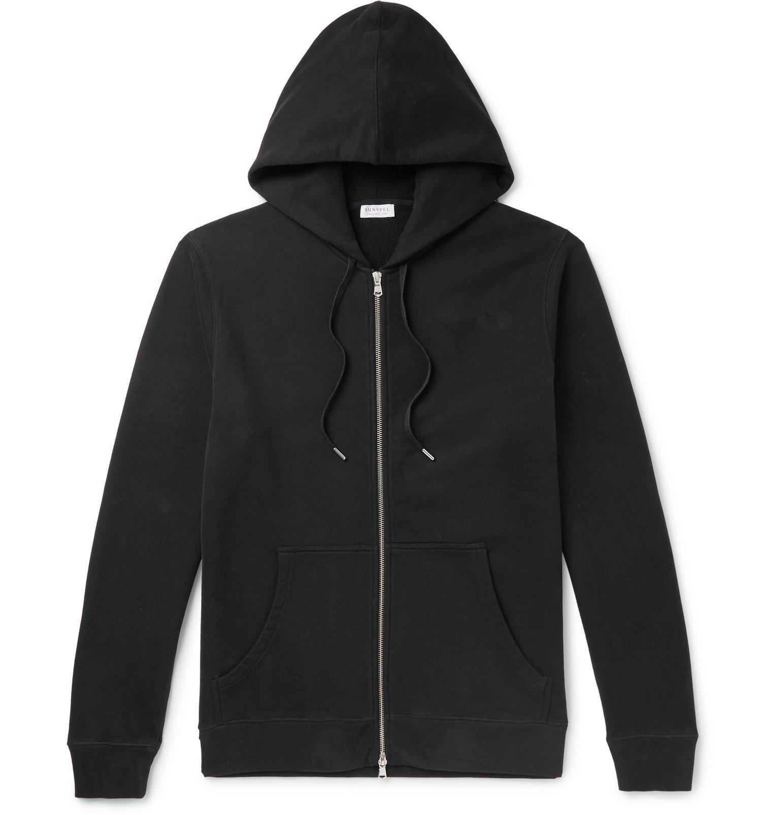 Sunspel - Loopback Cotton-Jersey Zip-Up Hoodie - Black