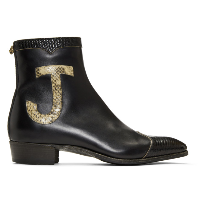 Photo: Gucci Black Leather and Lizard Elton John Zip-Up Boots