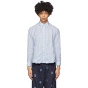 Martine Rose Blue and White Check Crinkled Classic Shirt