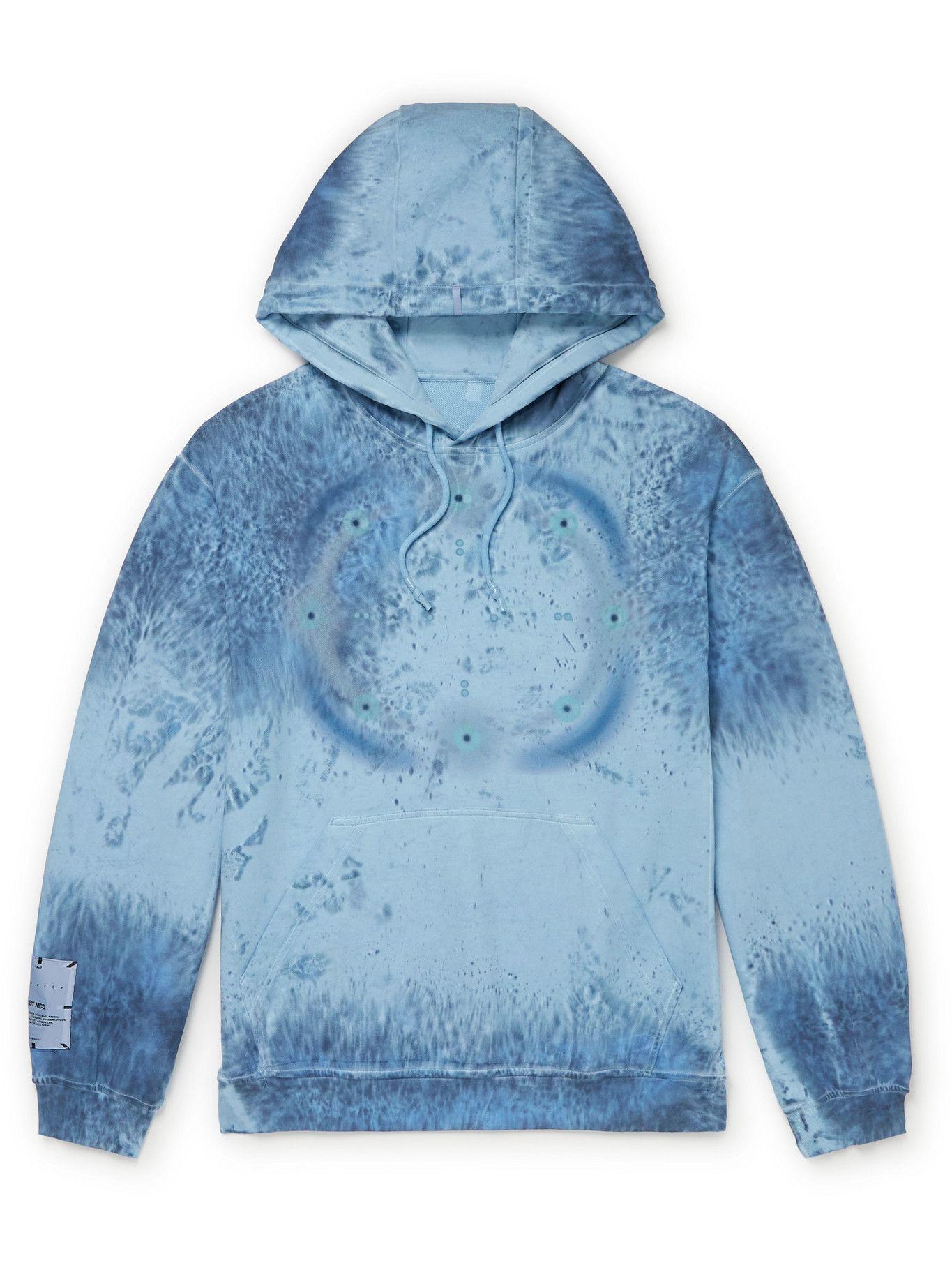 MCQ - Breathe Logo-Appliquéd Printed Cotton-Jersey Hoodie - Blue