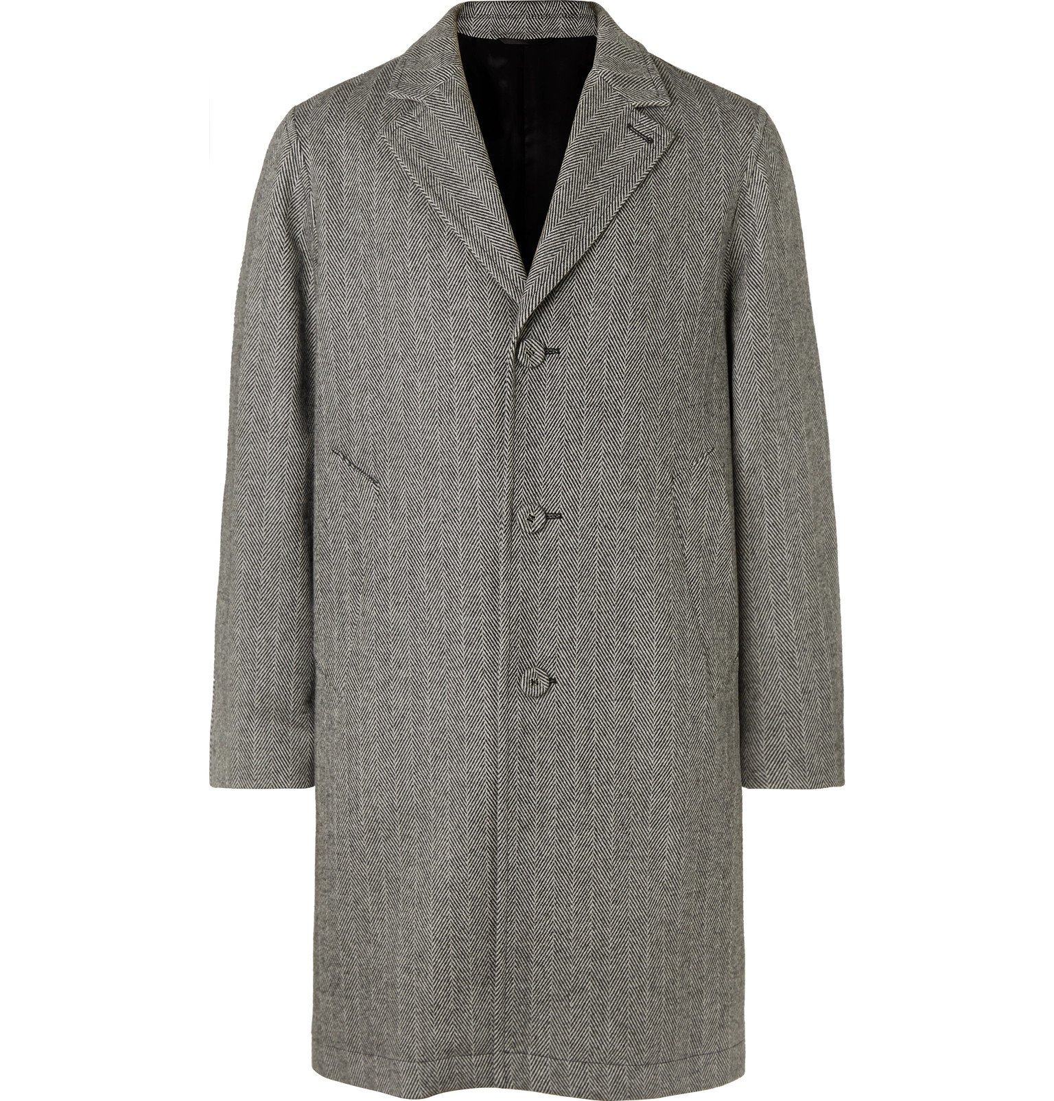 Photo: Officine Generale - Arthur Herringbone Wool and Cashmere-Blend Coat - Gray