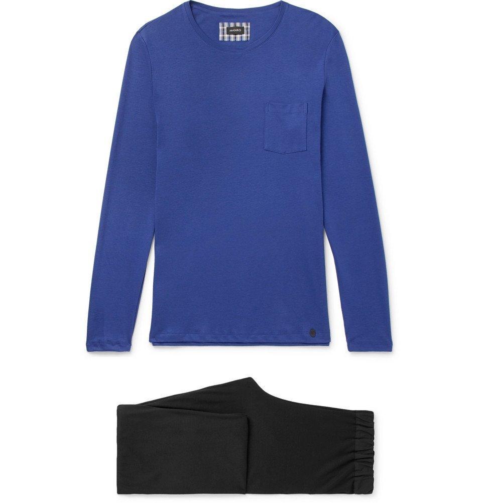 Hanro - Night and Day Cotton-Jersey Pyjama Set - Men - Blue