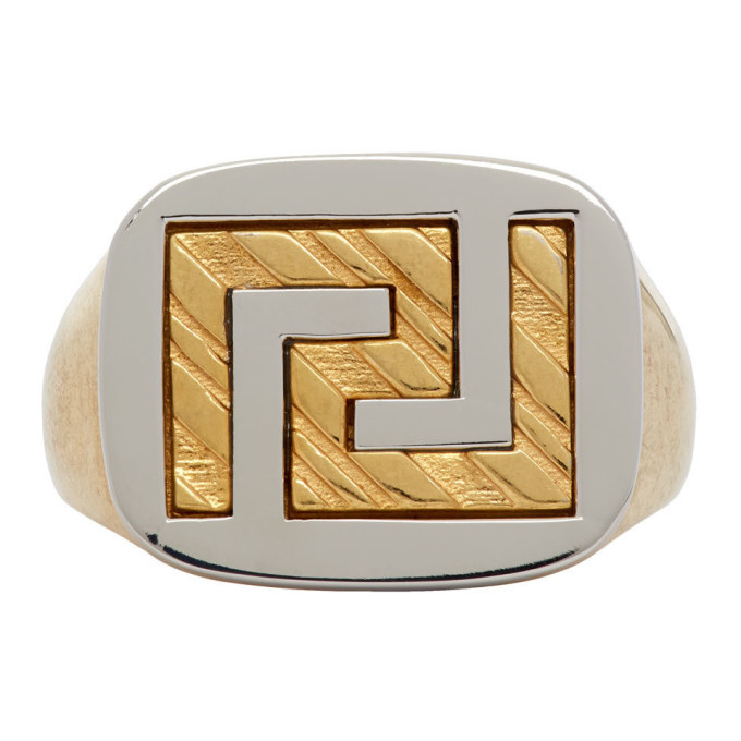 Photo: Versace Gold Greek Key Signet Ring