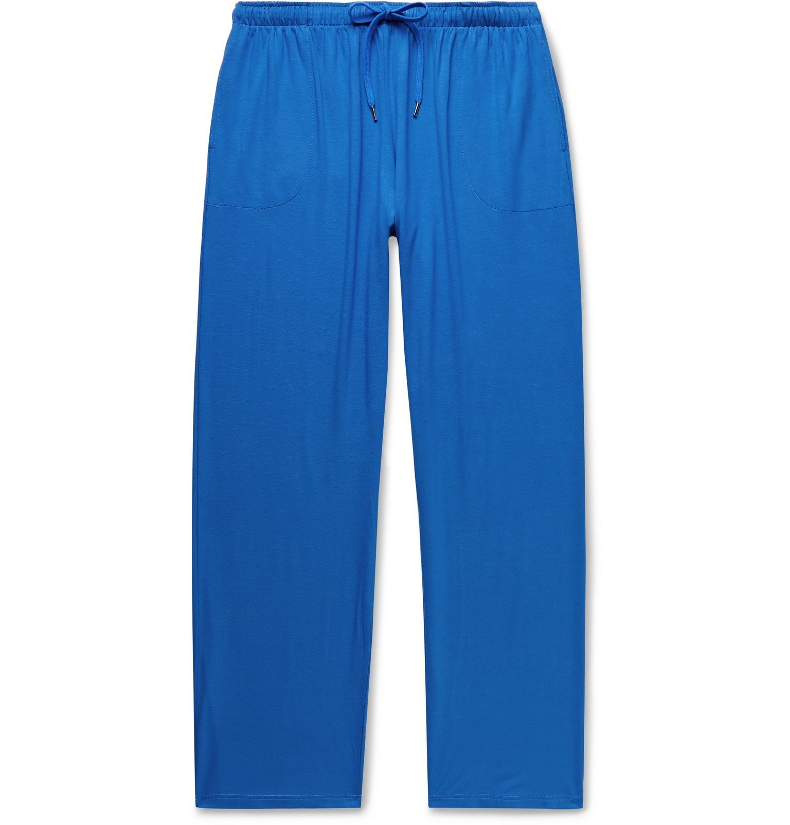 Photo: Derek Rose - Basel Stretch Micro Modal Drawstring Pyjama Trousers - Blue