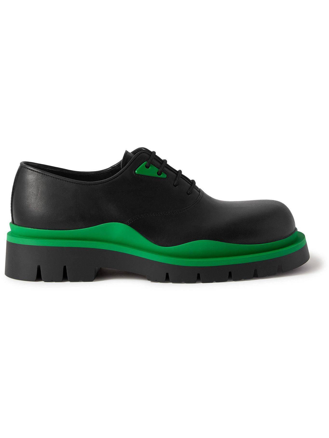 Photo: Bottega Veneta - The Tire Rubber-Trimmed Leather Derby Shoes - Black