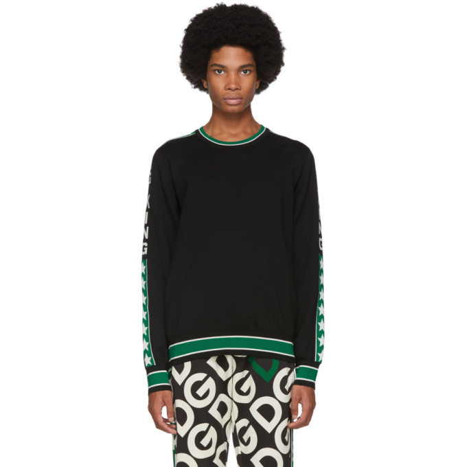 Photo: Dolce and Gabbana Black and Green Wool DG King Sweatshirt