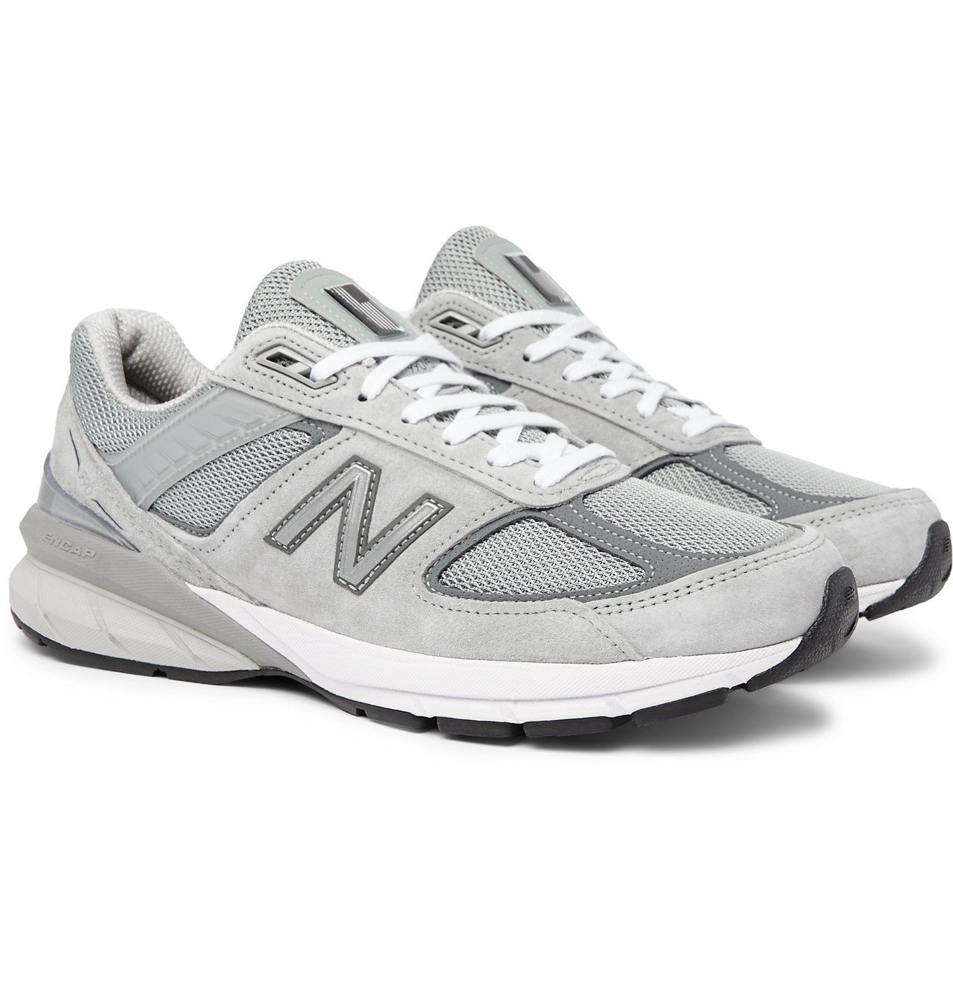 Photo: New Balance - M990v5 Suede and Mesh Sneakers - Gray