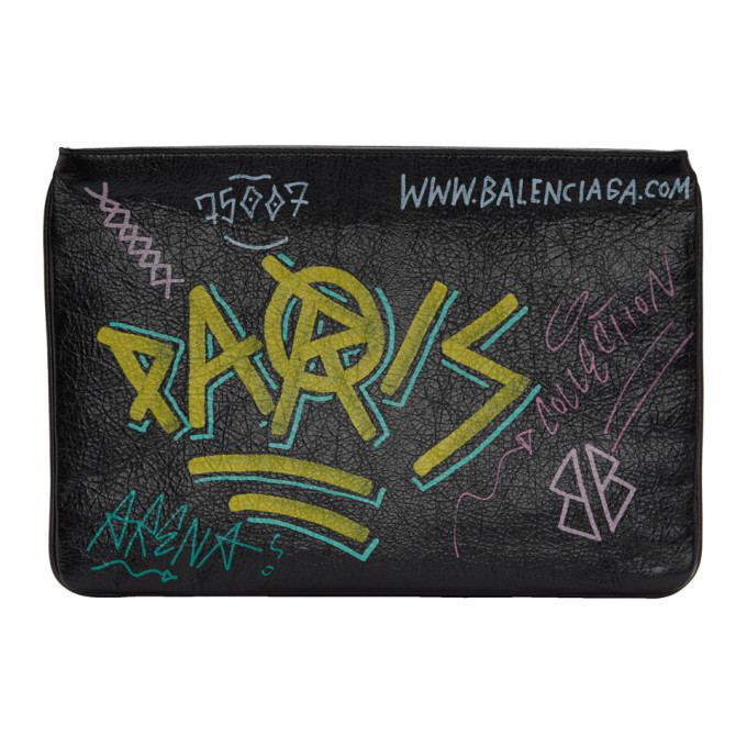 Photo: Balenciaga Black Leather Graffiti Pouch