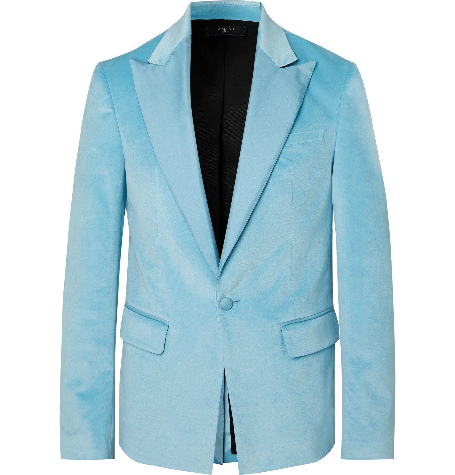Photo: AMIRI - Light-Blue Silk Satin-Trimmed Velvet Blazer - Blue