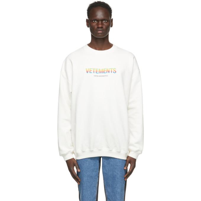 Photo: VETEMENTS White Think Differently Sweatshirt