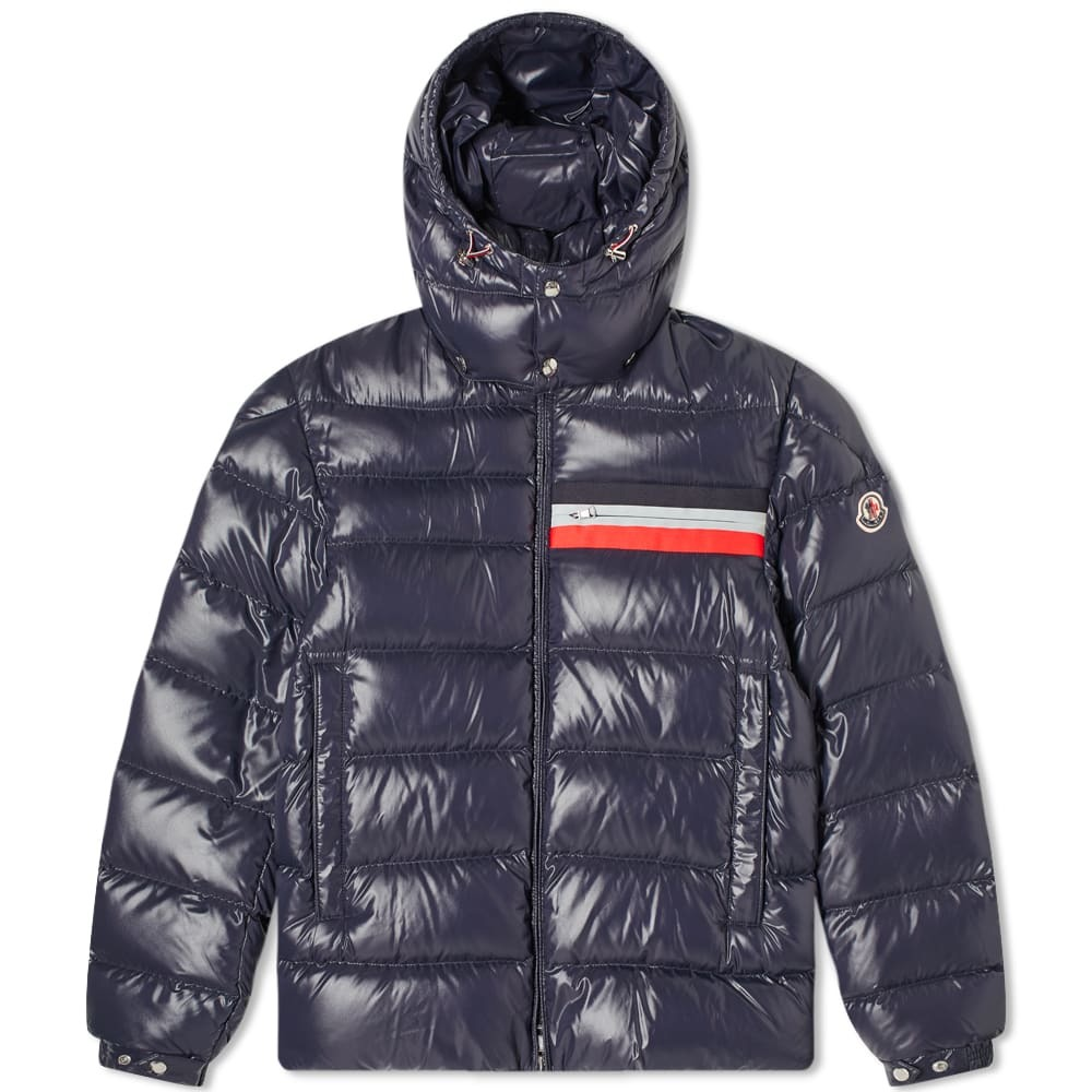 Photo: Moncler Mounier Tricolore Band Hooded Down Jacket