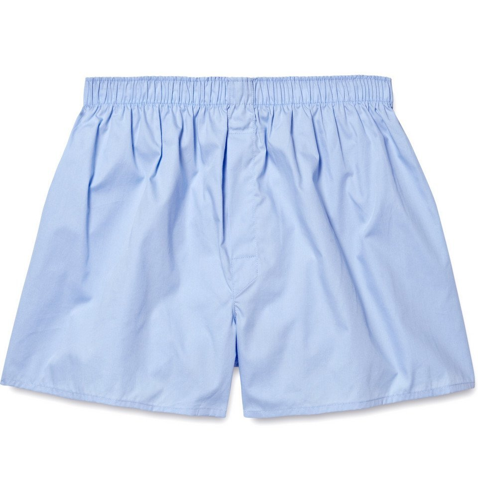 Sunspel - Cotton Boxer Shorts - Men - Light blue