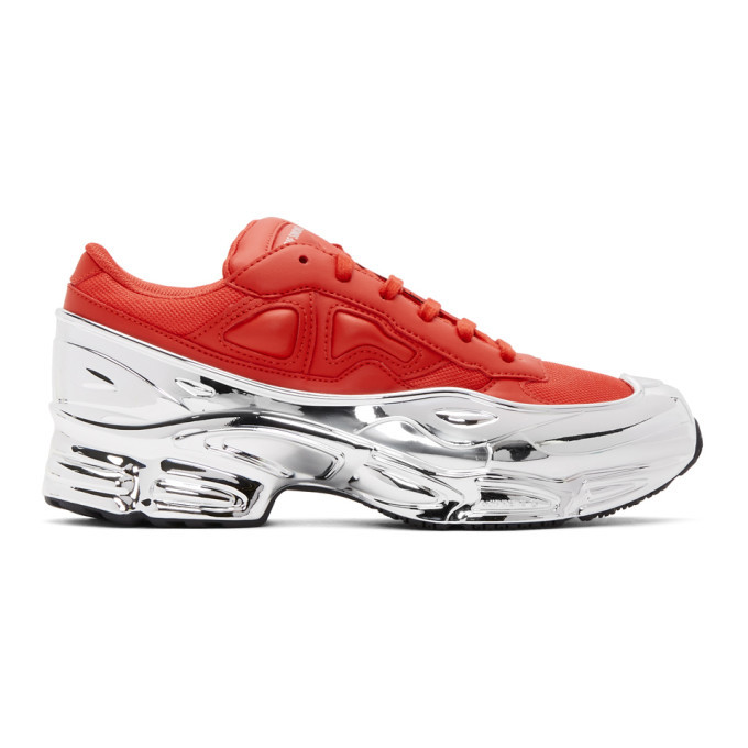 Photo: Raf Simons Red and Silver adidas Originals Edition Ozweego Sneakers
