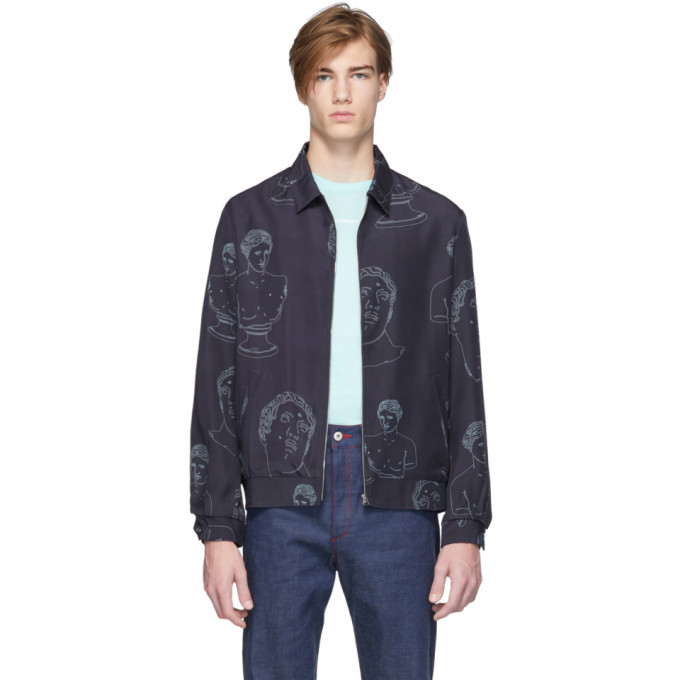 Photo: Band of Outsiders Navy Marbles Summer Bomber Jacket