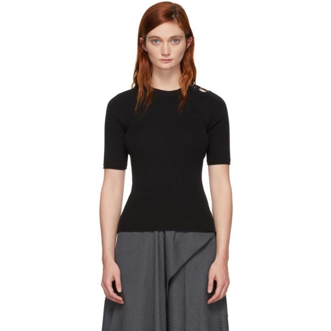 3.1 Phillip Lim Black Button Short Sleeve Sweater