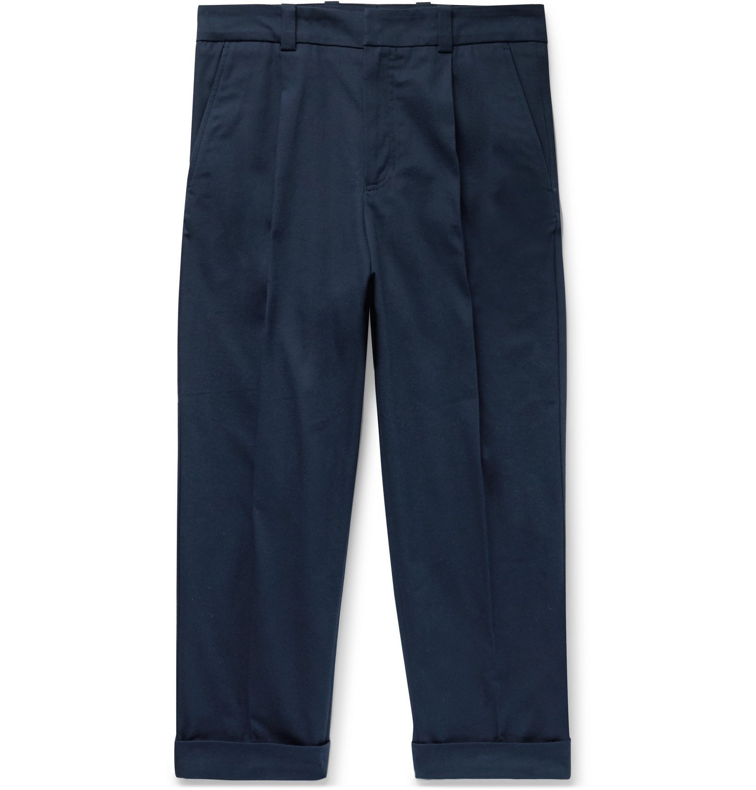 Acne Studios - Pierre Cropped Tapered Pleated Stretch-Cotton Trousers - Blue