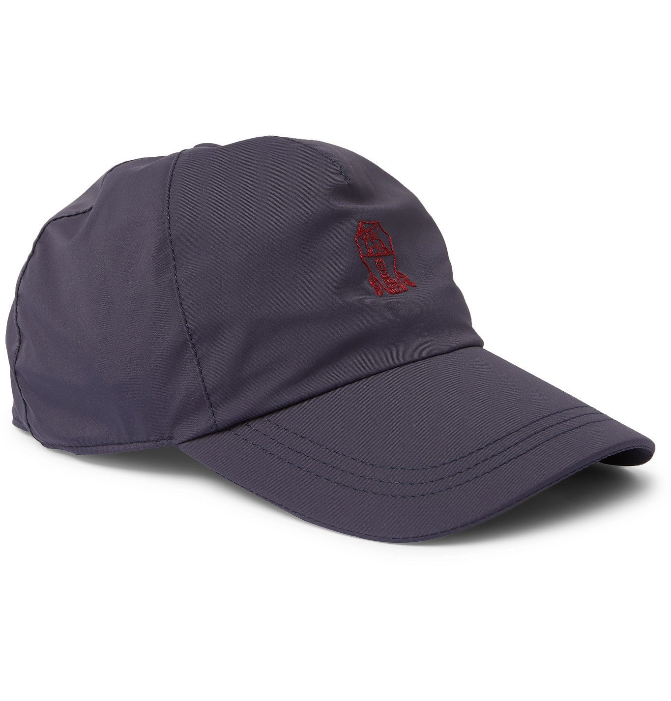 Photo: Brunello Cucinelli - Leather-Trimmed Logo-Embroidered Shell Baseball Cap - Blue