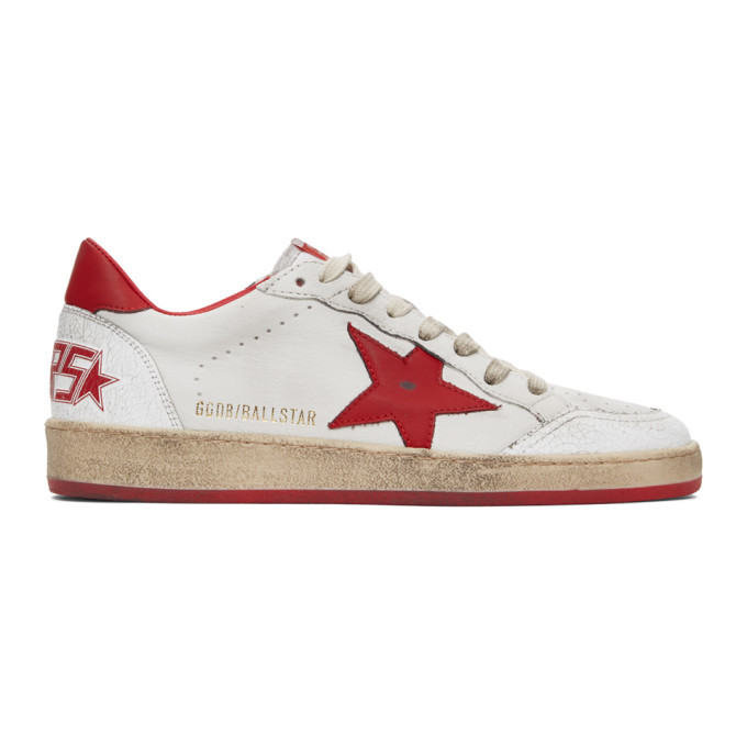 Photo: Golden Goose White and Red Cracked Ball Star Sneakers
