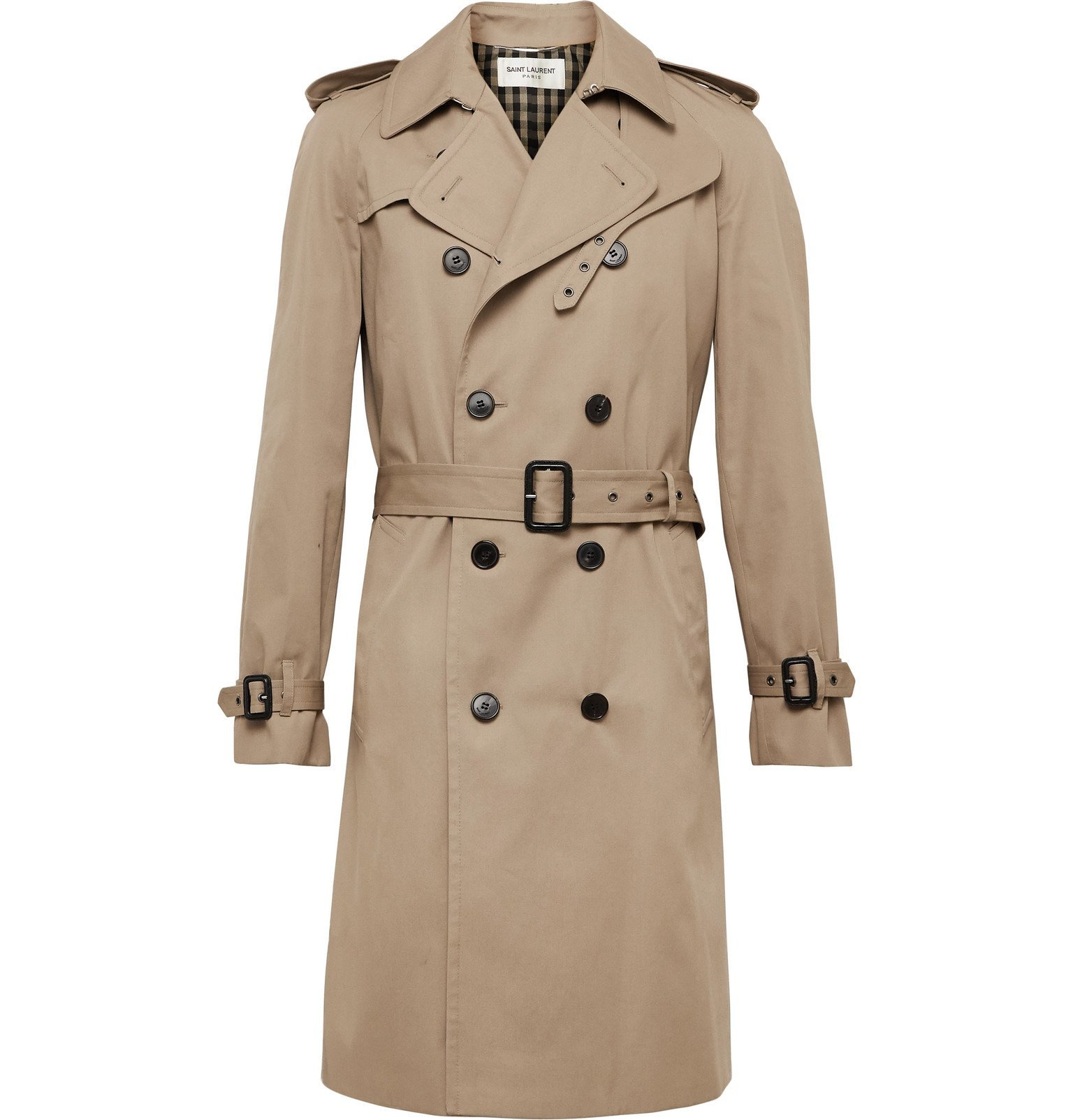 Photo: SAINT LAURENT - Leather-Trimmed Gabardine Trench Coat - Neutrals