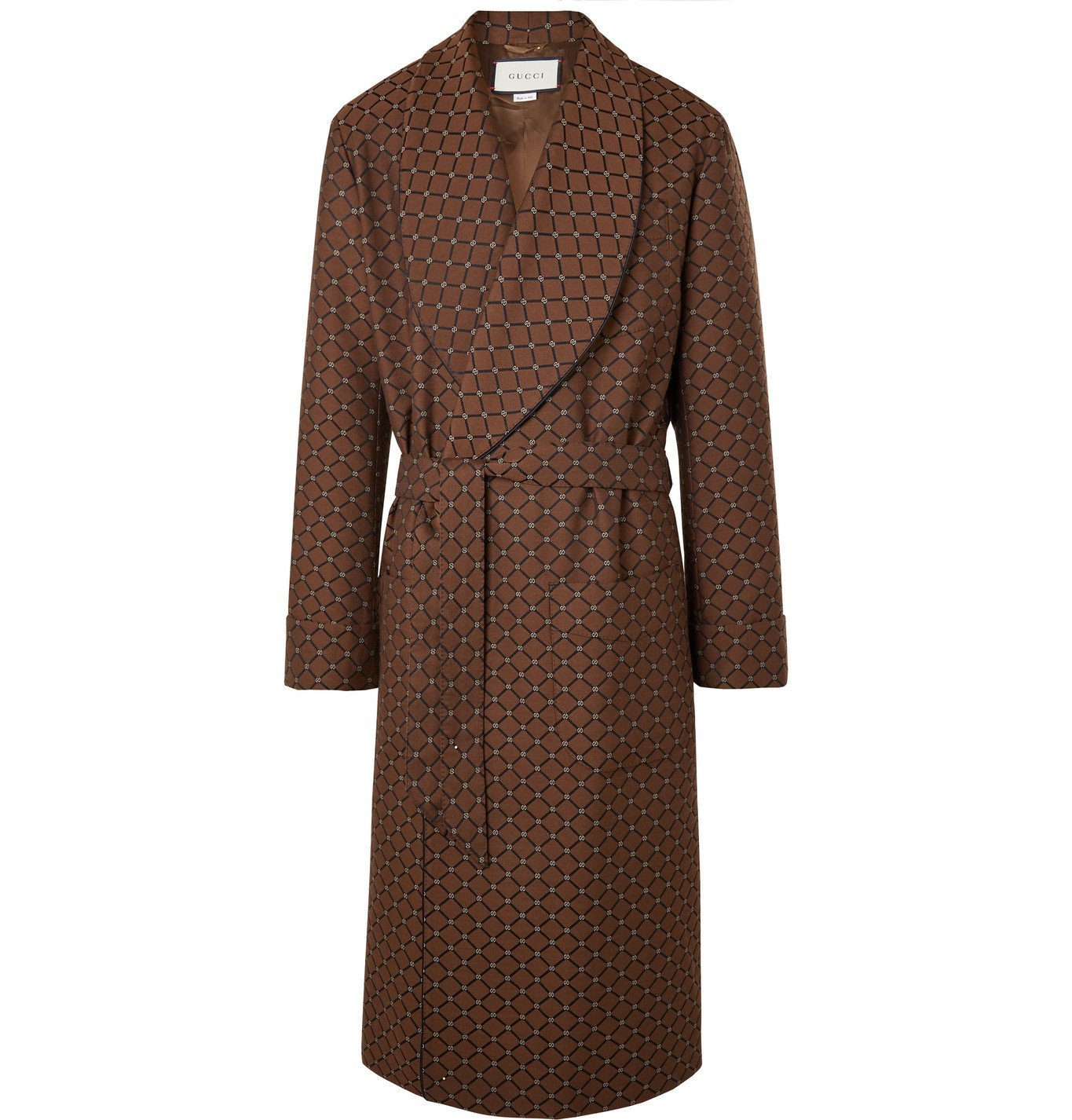 Photo: Gucci - Shawl-Collar Belted Piped Logo-Jacquard Twill Coat - Brown