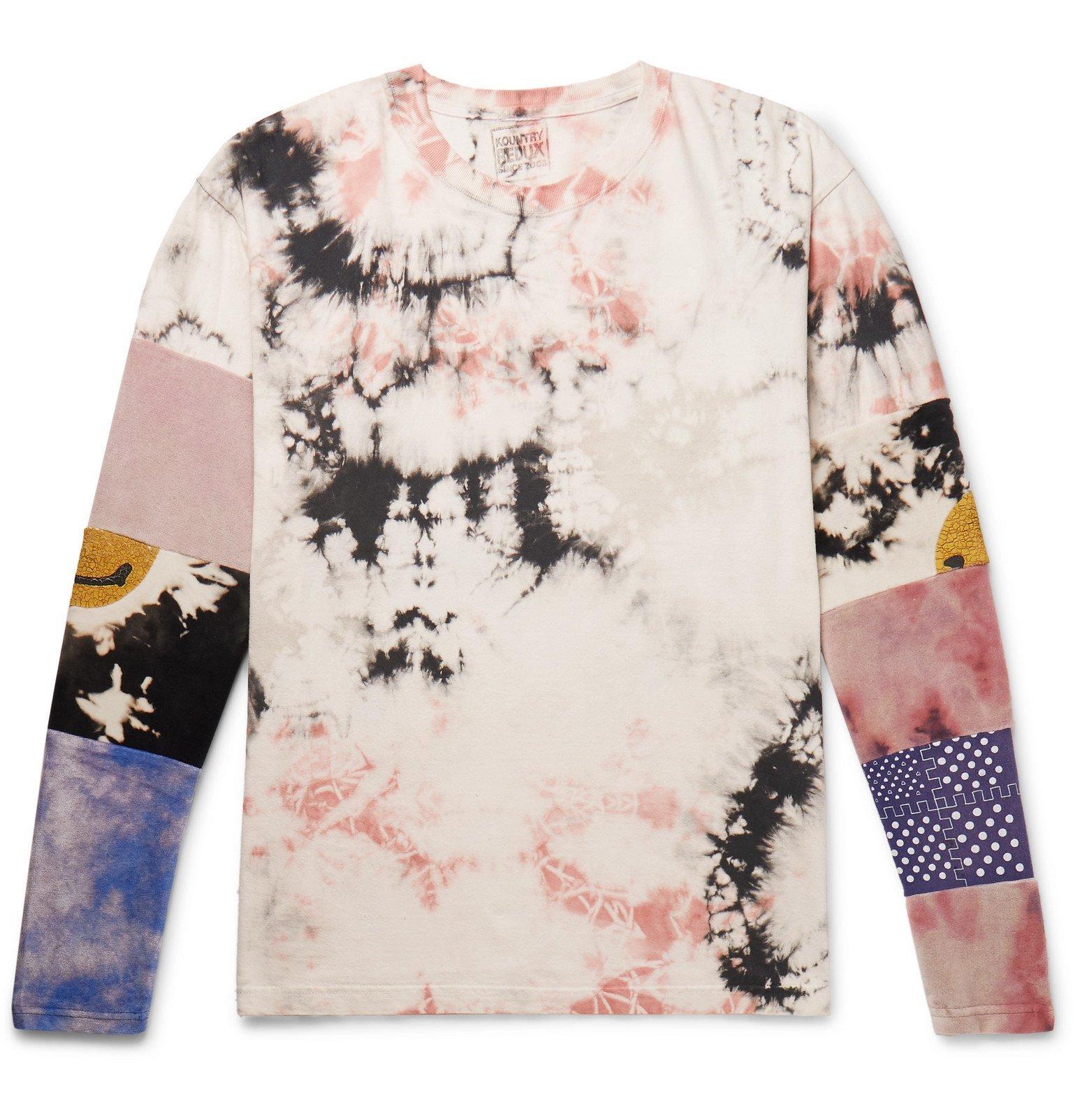 Photo: KAPITAL - Panelled Printed Tie-Dyed Cotton-Jersey T-Shirt - Multi