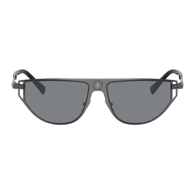 Photo: Versace Gunmetal Grecamania Visor Sunglasses