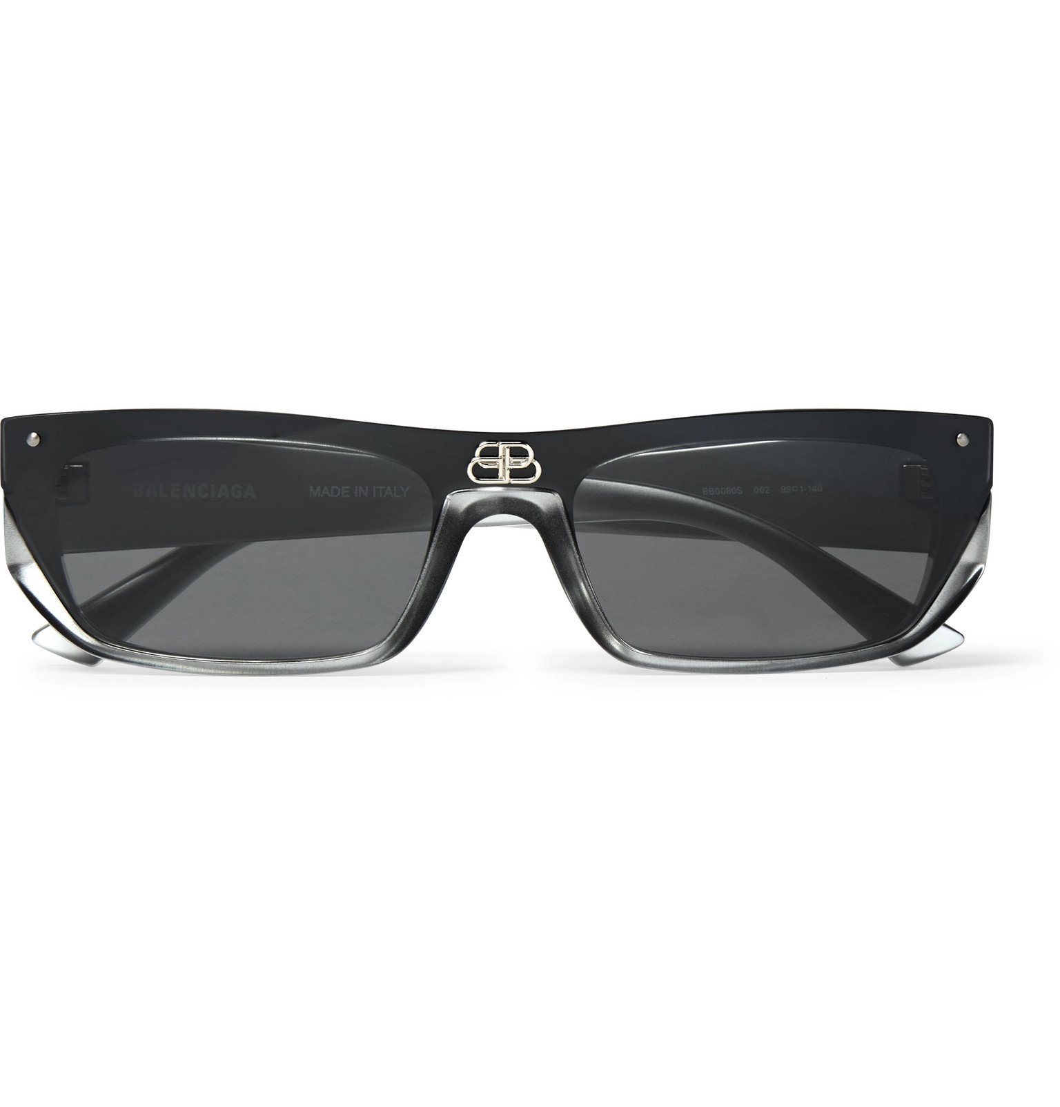 Photo: Balenciaga - Rectangle-Frame Ruthenium and Acetate Sunglasses - Black