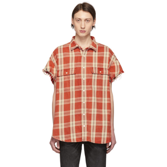 Photo: R13 Red Plaid Oversized Cut-Off Shirt