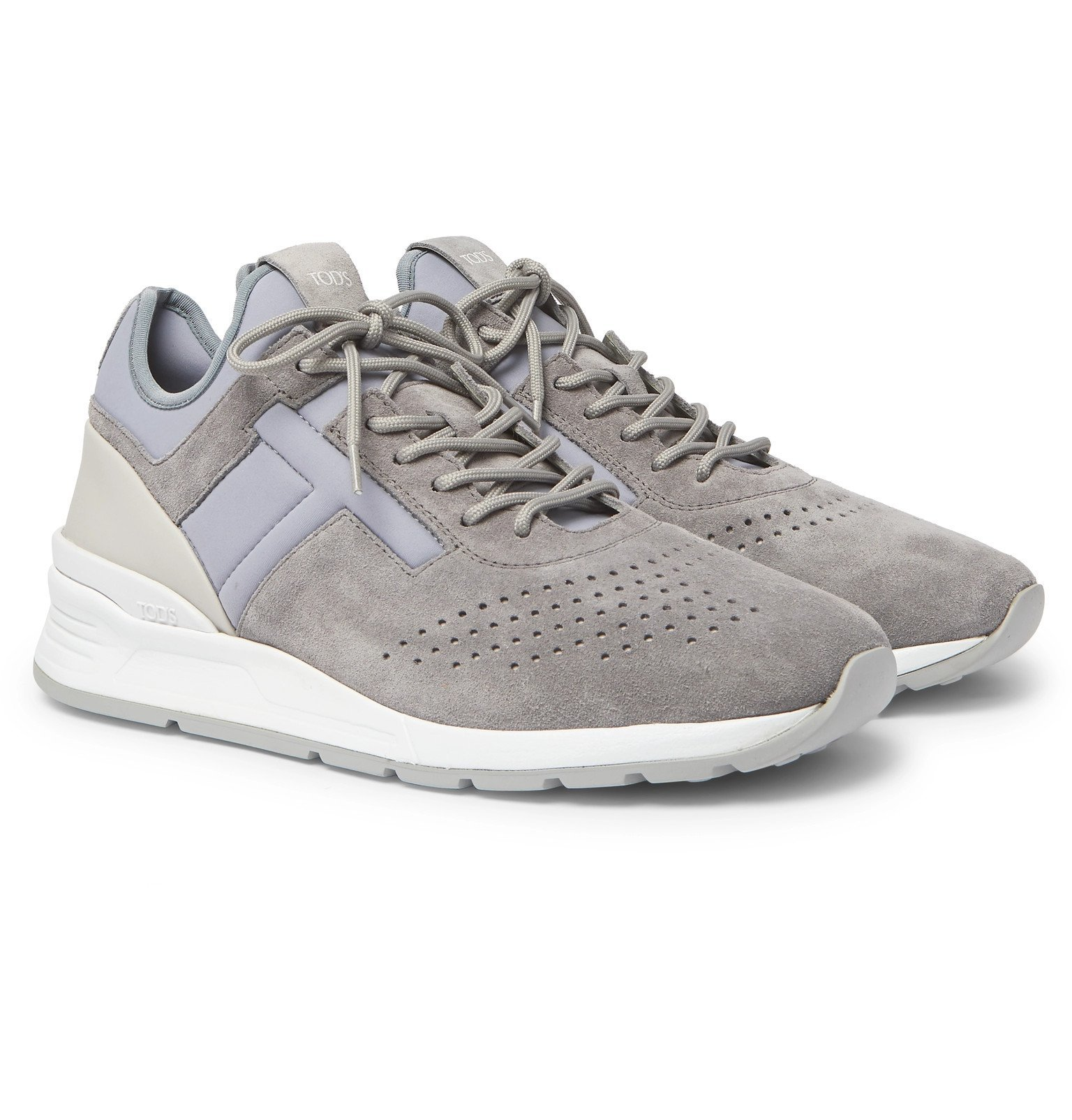 Photo: Tod's - Sportivo Leather-Trimmed Suede and Neoprene Sneakers - Gray