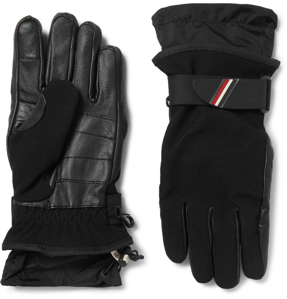 Photo: Moncler Grenoble - Shell-Trimmed Fleece and Leather Ski Gloves - Black