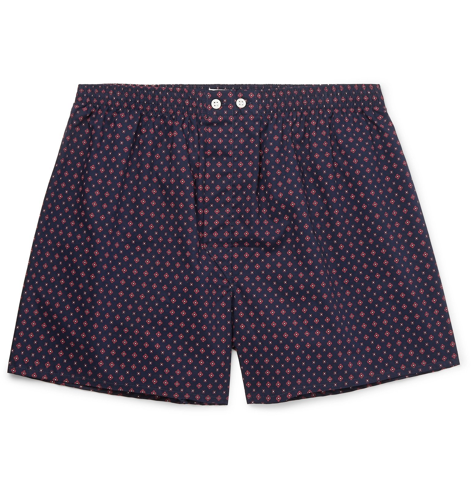 Photo: Derek Rose - Nelson Printed Cotton Boxer Shorts - Blue
