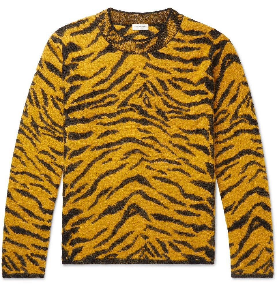 Photo: SAINT LAURENT - Slim-Fit Tiger-Intarsia Wool-Blend Sweater - Yellow